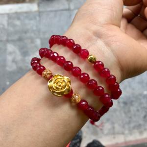 Mã não đỏ hồng ruby mix vàng 24k