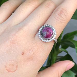 Nhẫn Ruby Nam phi đính đá Bạc si vàng trắng 18k